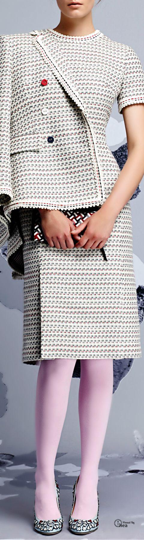 Thom Browne ● Resort 2015, Grey Graphic Weave Tweed Dress