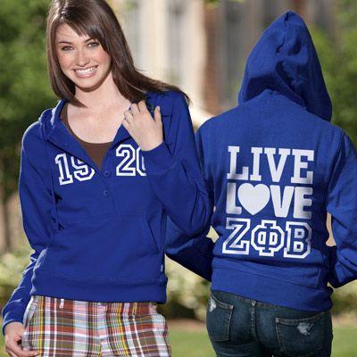 Zeta Phi Beta Sorority Ladies 5-Button Printed Fashion Hoody $46.95 #Greek #Sorority #Clothing  #ZPhiB #ZetaPhiBeta