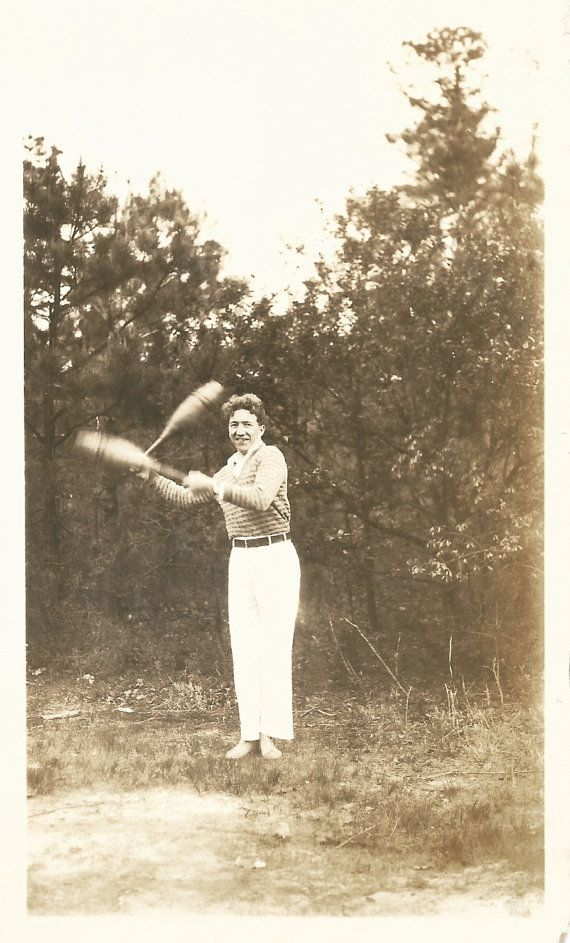 """Vintage Snapshot """"Indian Clubs"""" Exercise Blur Motion Barefoot Man Wooden Clubs Exercise Equipment Found Vernacular Photo"""