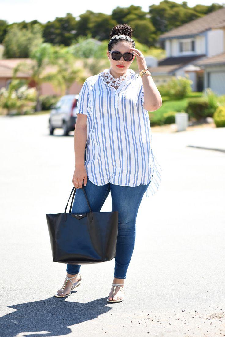 Stripe Beach Shirt, Pearl Necklace