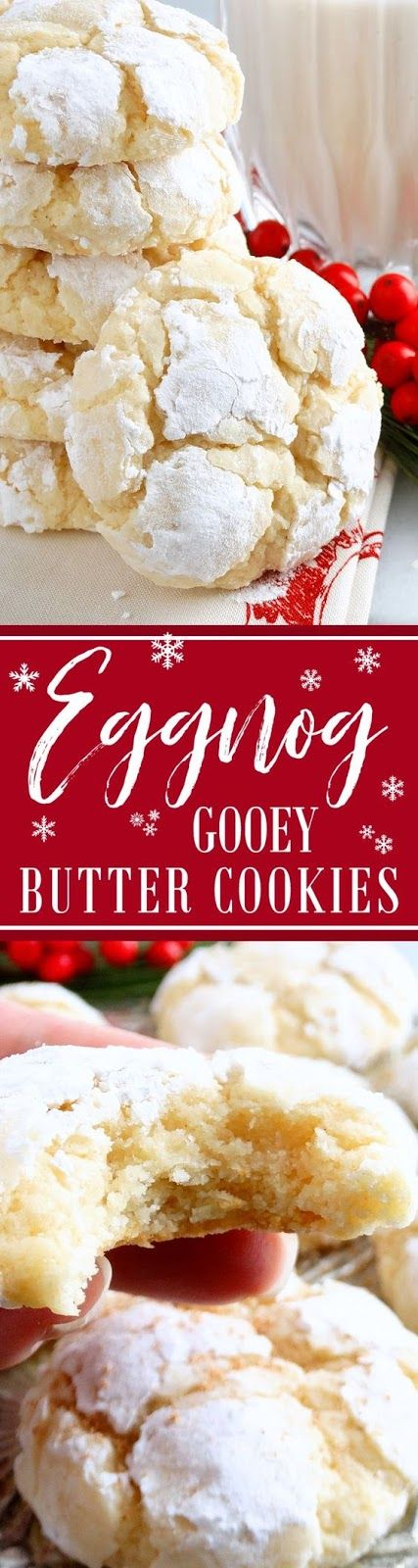 Eggnog Gooey Butter Cookies (from scratch!) ~ Melt-in-your-mouth Eggnog Gooey Butter Cookies at their finest and from scratch. Buttery, light and tender-crumbed, sweetened just right and full of classic eggnog flavors of rum or bourbon and nutmeg with a whisper of cinnamon. You just can't have one! Included is a scrumptious and irresistible gluten free variation. Everyone will love these…they are pure Christmas deliciousness!