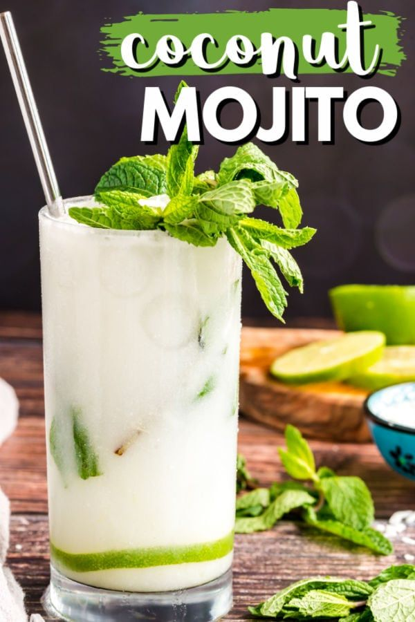 This Refreshing Coconut Mojito Is Made With Fresh Cooling Mint Coconut Rum Coconut Cream And Clu In 2020 Coconut Drinks Recipes Drinks Alcohol Recipes Coconut Mojito