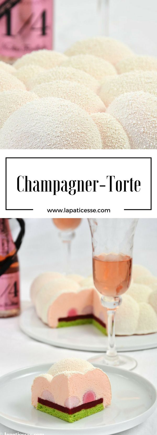 Rezept für Champagner-Torte Nuage d'Ispahan oder Wolke von Ispahan * Recipe for Pink Champagne Cake / Mousse Cake * Recette de Entremets Champagne made by La Pâticesse