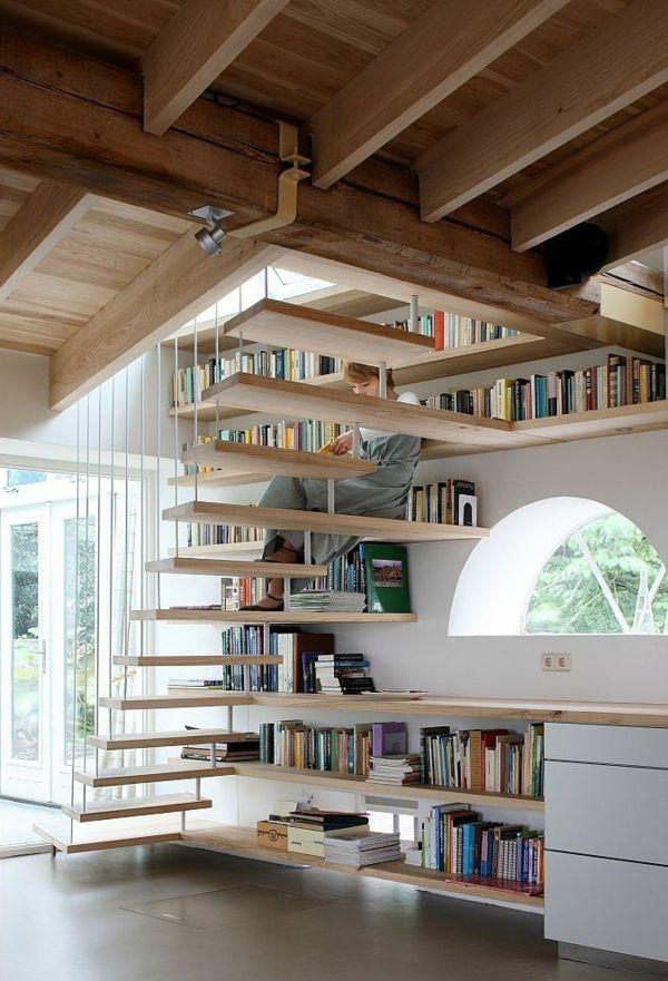 meuble bibliothèque unique avec escalier flottant