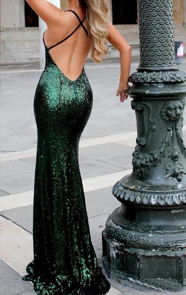 e2ff5754252b MACloth Mermaid V Neck Sequin Long Prom Dress Dark Green Formal Evening Gown