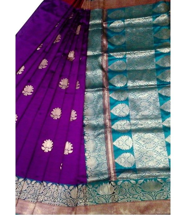 Purple Banarasi Handloom Katan Silk Saree
