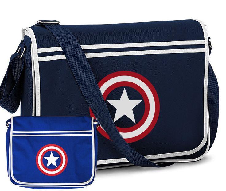 Captain America Marvel Comics Sheild Design Retro Shoulder Messenger Bag Navy Blue and Royal Blue by ClothingCabin on Etsy https://www.etsy.com/listing/226299530/captain-america-marvel-comics-sheild