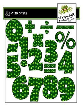 This is a set of numbers and math signs (green with tiny shamrocks) for use in your classroom or on your products. Included are 18 color images in PNG format with a transparent background.  Included: Numbers 0-9; Symbols for: addition, subtraction, multiplication, division; fraction bar; decimal; percent sign; and equal sign.
