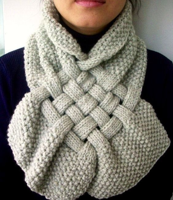 Terrific textures knit into an inter-locking scarf