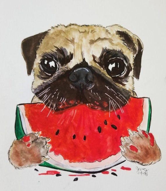 Pug Art Pug Painting Pug Canvas Pug Print Pug Illustration