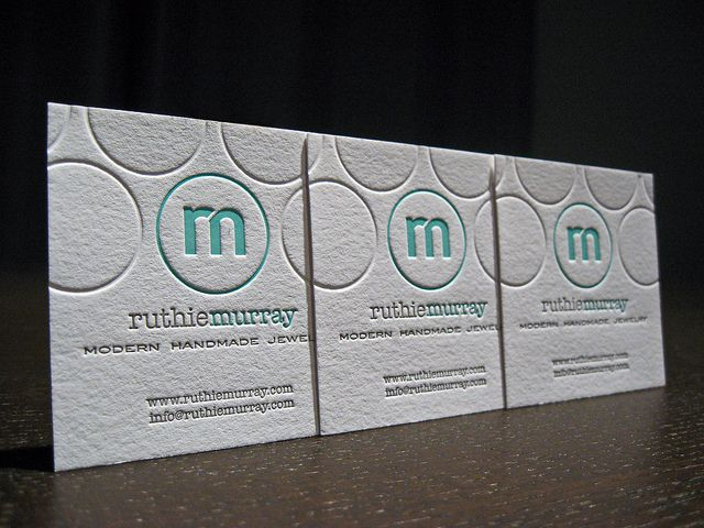 love these square letterpress business cards w/white and a pop of teal