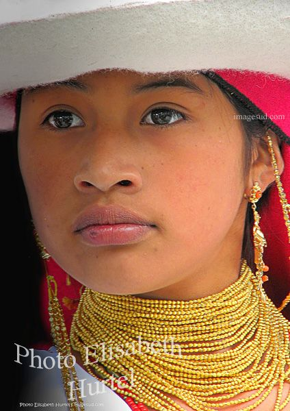 Portrait of a beautiful young girl, Andean Indigenous, Ecuador, South America