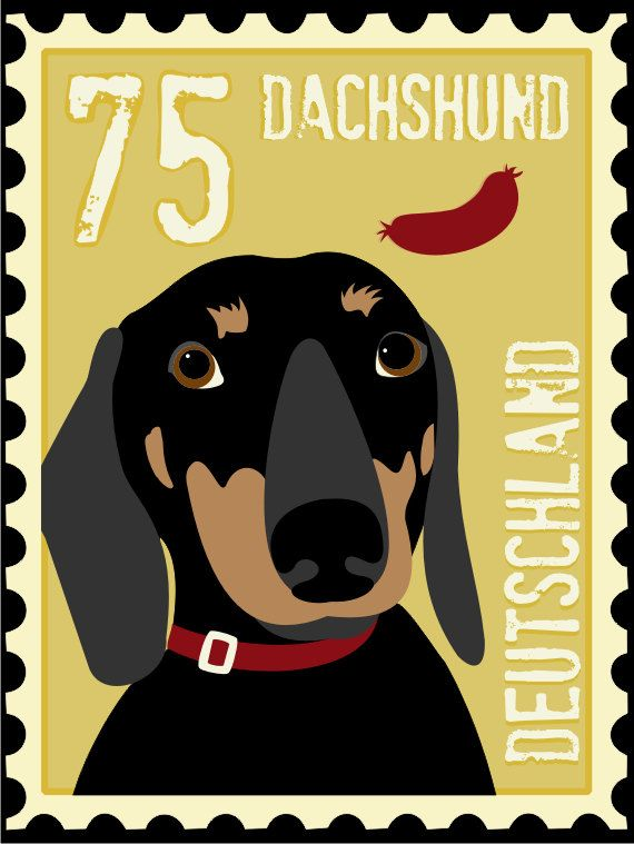 Dachshund Art Poster Postage Stamp Art Series 11 x by GoingPlaces2, $28.00 @Poppy Treffry #dachshing