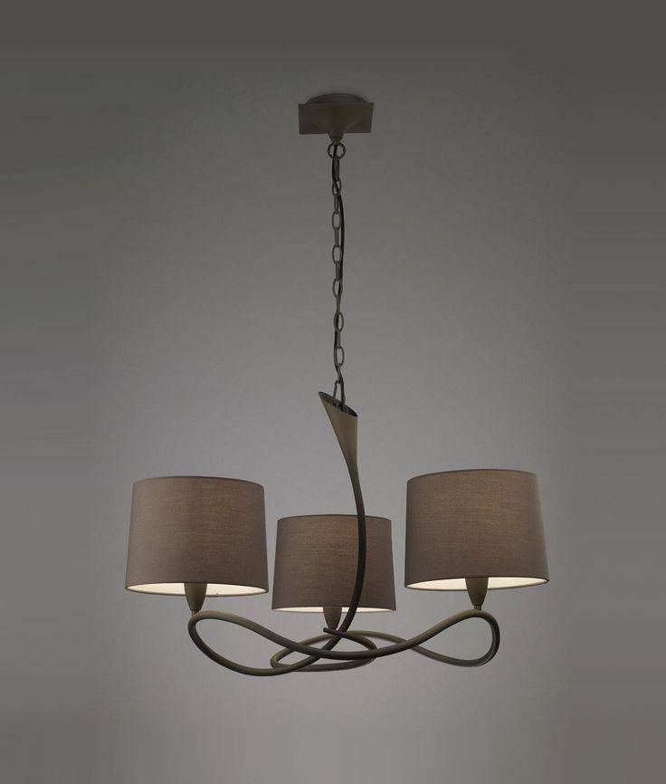 Lámpara gris ceniza LUA 3 luces - La Casa de la Lámpara