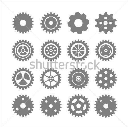Outline Gear Vectors Set