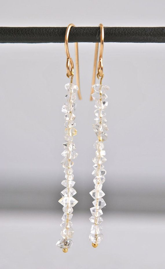 Herkimer Diamond Gold Bar Earrings by NohoLife