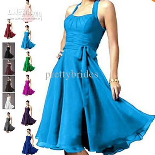 Custom Made Halter Chiffon Short Mini Pleated formal gown ...