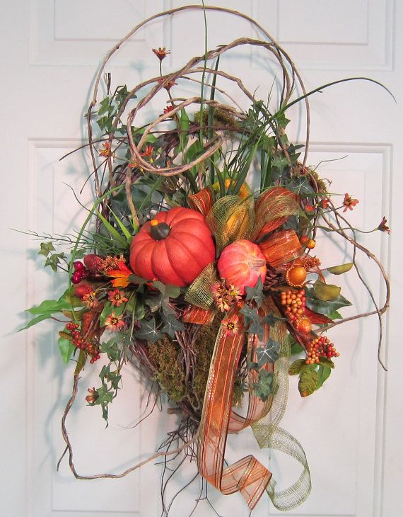 Fall Door Basket Will be Beautiful on Your Door by LadybugWreaths, $99.97