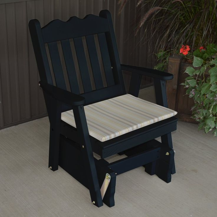 A & L Furniture Yellow Pine Royal English 2 ft. Outdoor Glider Chair Black - 655-BKP BLACK
