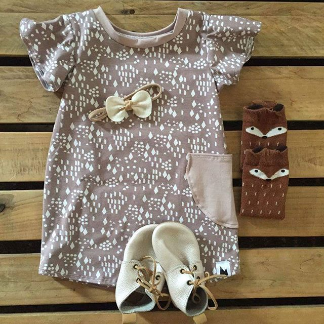 Baby girl graphic romper - Mount Zi. Baby and kids clothing, baby girl outfit, knee high socks.