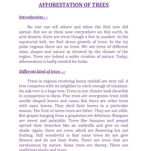 We have a huge group of essays afforestation short essay in english writers that have the capacity to undertake any writing project you put to us. Afforestation Of Trees Different Kind Of Trees Trees Serve Humanity Benefits Of Trees Love For Trees Essay Benefits Of Trees Tree One Tree Trees To Plant