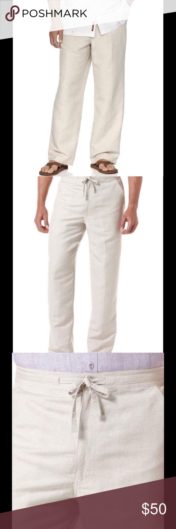 Cubavera men's natural linen pants size 52 NWT Cubavera men's natural linen pants. Elastic waistband with drawstring at front. Full cut leg for fluidity offers ease of movement and comfort. Size 5x inseam is 32, Cubavera Pants Chinos & Khakis