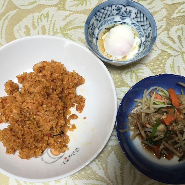 チキンライスと野菜炒め