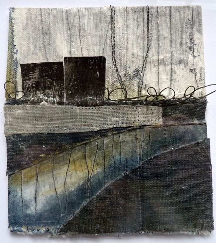 Debbie Lyddon - Small Marshscape | Black Loops and Metal Posts, Cloth, Stitch and Wax #mixed_media #textile_art