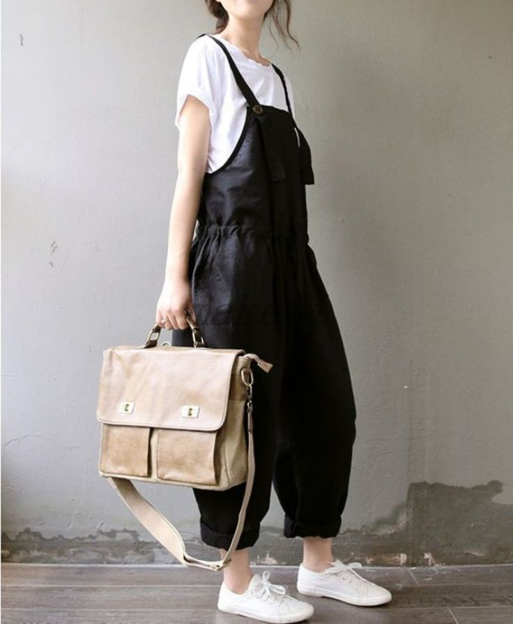 Korean Womens Casual Jumpsuit Loose Strappy Romper Overall Linen Pants Dress