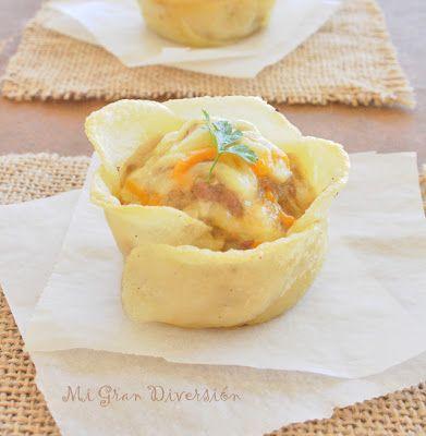 Mi Gran Diversión: Cestas de flores de patatas rellenas de carne al curry