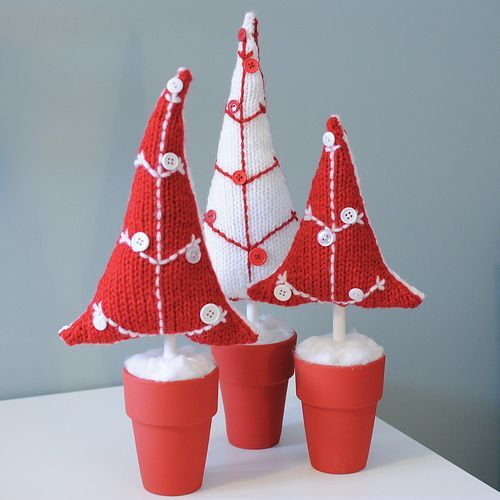 Potted Button Trees pattern: Projects, Xmas Trees, Trees Patterns, Knits Christmas, Knits Patterns, Holidays, Christmas Decor, Buttons Trees, Christmas Trees