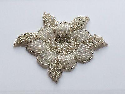 Rose Bridal Motif Silver Crystal Clear Rhinestone Applique w/ Pearls Style #127