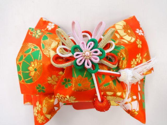アンティーク 手まりに桜模様織り出し子供用作り帯