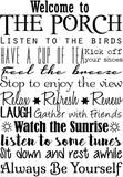 Welcome To The Porch Vinyl Wall Decal - Inspirational Wall Signs
