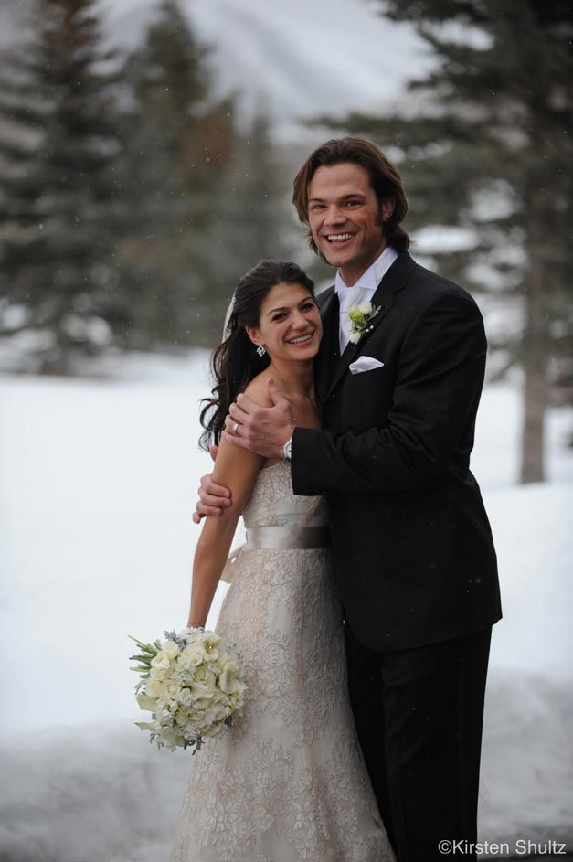 """Supernatural"""" co-stars Jared Padalecki and Genevieve Cortese were married on Saturday in the bride's hometown of Sun Valley, Idaho. Description from redcarpetwedding.org. I searched for this on bing.com/images"""