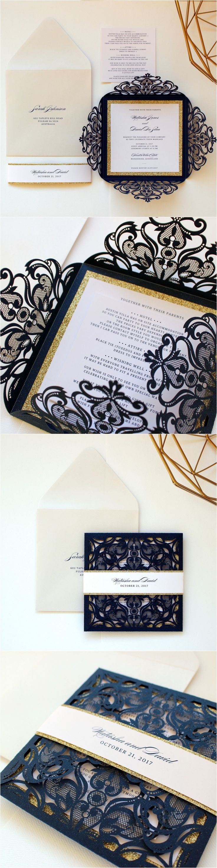 Navy and Gold Wedding Invitation Belly Bands, Navy Blue Wedding Invitations Australia, Navy Wedding Invitation, Glitter Invitation