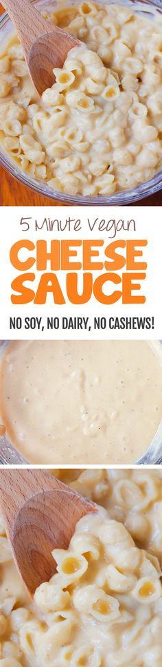 I have no idea how this works, but it does! Ultra creamy vegan cheese sauce without any soy, nuts, or dairy