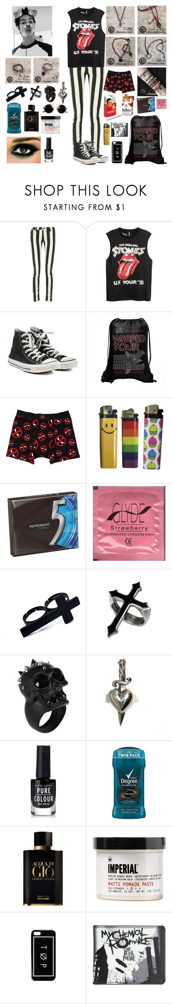 """Remington Leith"" by whengaypigsfly ❤ liked on Polyvore featuring Off-White, Converse, Marvel, Alexander McQueen, Metal Couture, New Look, Giorgio Armani, Imperial Barber Products, Hot Topic and men's fashion"