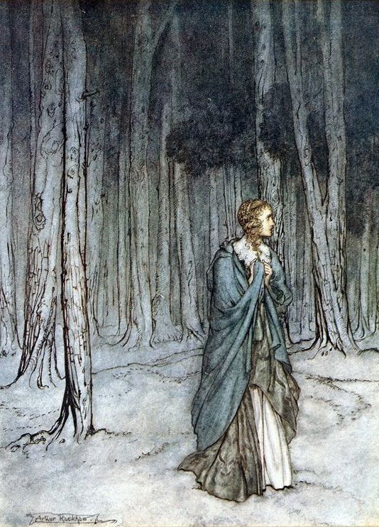 'The lady enters', from Comus by John Milton, illustrated by Arthur Rackham.
