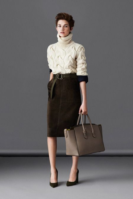 I LOVE THIS LOOK - Cream Cable Knit Sweater and Brown Suede Pencil Skirt- Bally | Fall 2014 Ready-to-Wear Collection | Style.com