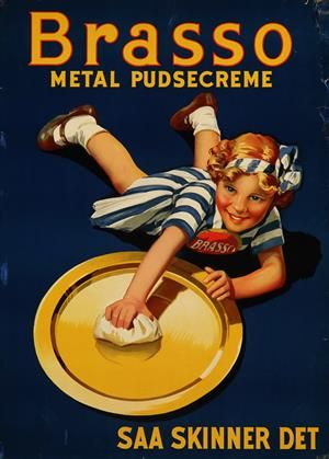 Lauritz.com - Grafik - Plakat, 'Brasso metal pudsecreme - saa skinner det', litografi, ca. 1937 - DK, Vejle, Dandyvej