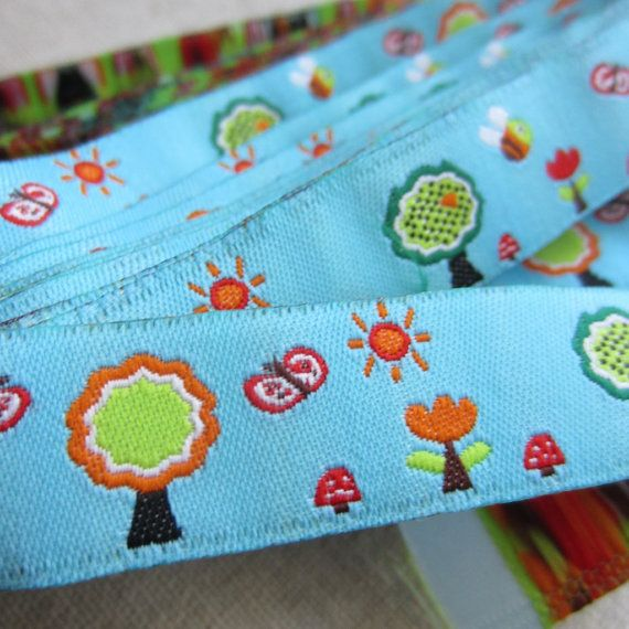 "Embroidered Ribbon. 3m (3.2yds). Butterfly, Tree, Bee, Mushroom Trim. Pacifier clip ribbon. 16mm 5/8"" wide. AUD 2.60 Worldwide Post!"