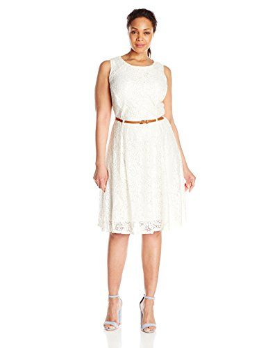 Sharagano Womens Plus Size Sleeveless Lace Belted Dress Ivory 24W ** You  can get additional