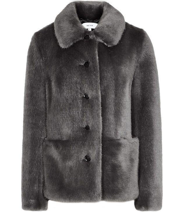 Alexia Grey Faux Fur Coat - REISS
