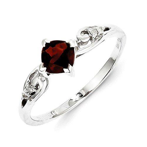 Sterling Silver Rhodium Plated Diamond And Garnet Cushion Ring
