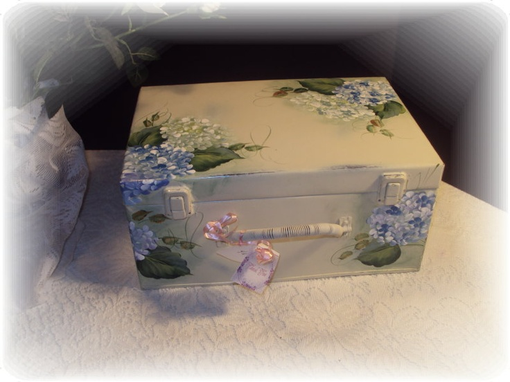 shabby and chic hand painted hydrangea,  vintage-to-chic on ebay.com