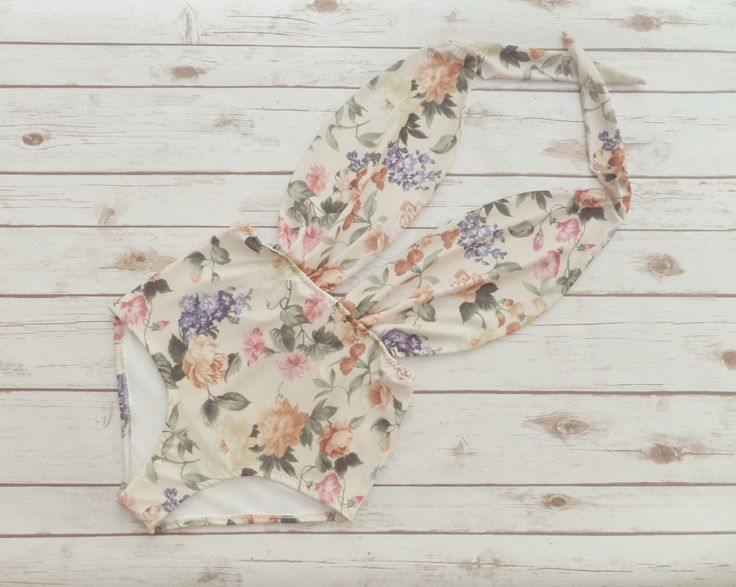 Swimsuit High Waisted Vintage Style One Piece Retro Pin-up Maillot - Floral Print Bohemian Bathing Suit Swimwear - Unique Pretty & So Cute! by Bikiniboo on Etsy https://www.etsy.com/listing/227025718/swimsuit-high-waisted-vintage-style-one