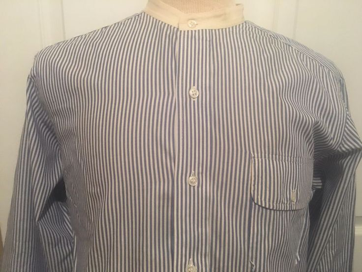 Vintage POLO RALPH LAUREN collarless long sleeve striped Shirt Mens Large   #PoloRalphLauren #ButtonFront