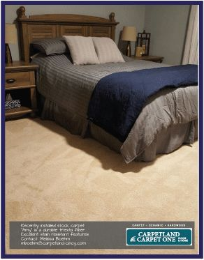 "Carpetland's stock ""Amy"" carpet installed in a bedroom. This is a durable, soft touch fiber at a great price point!"