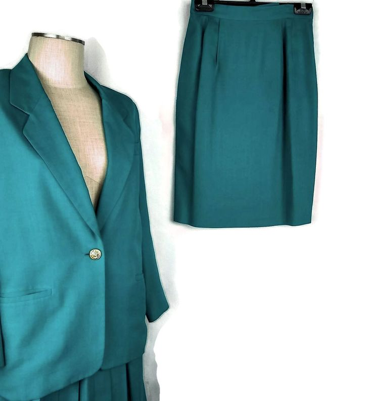 Talbots Womens Skirt Suit Size 8P 3 Pcs Green Lined Linen Blend Pleated Straight #Talbots #SkirtSuit